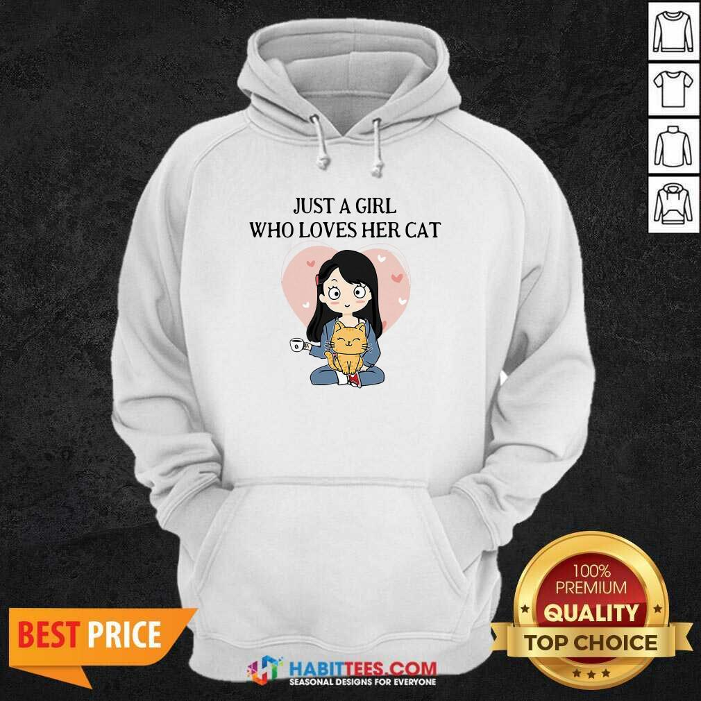 Chibi Girl Just A Girl Who Loves Her Cat 1 Hoodie - Desisn By Habittees.com