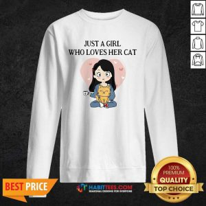Chibi Girl Just A Girl Who Loves Her Cat 1 Sweatshirt - Desisn By Habittees.com