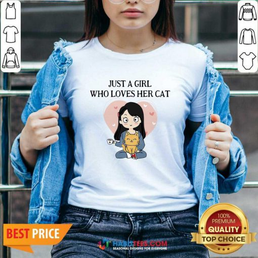 Chibi Girl Just A Girl Who Loves Her Cat 1 V-neck - Desisn By Habittees.com