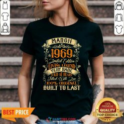March 1969 Limited Edition Living Legend Rare Filled With Love Built Last Vintage 52nd Birthday V-neck - Design by Habittees.com