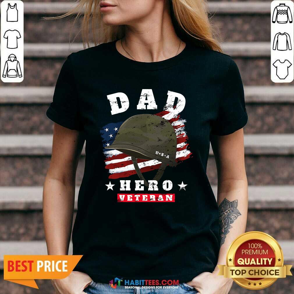 Nice Dad Us Army Veteran Hero Fathers Day American Flag V-neck - Design by Habittees.com