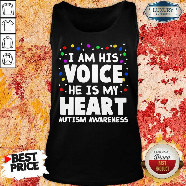 Official I Am His Voice He Is My Heart Autism Awareness Tank Top