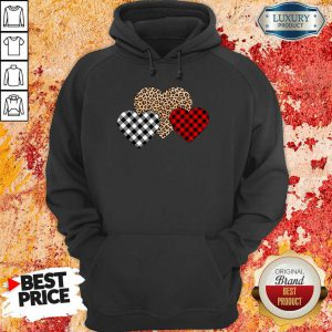 Official Valentines Day Valentine Three Hearts Leopard Buffalo Plaid Hoodie