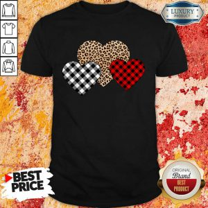 Official Valentines Day Valentine Three Hearts Leopard Buffalo Plaid Shirt