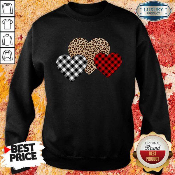 Official Valentines Day Valentine Three Hearts Leopard Buffalo Plaid Sweatshirt
