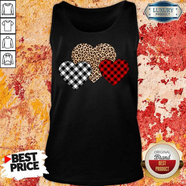 Official Valentines Day Valentine Three Hearts Leopard Buffalo Plaid Tank Top