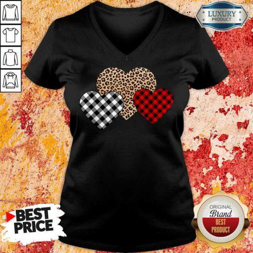 Official Valentines Day Valentine Three Hearts Leopard Buffalo Plaid V-neck