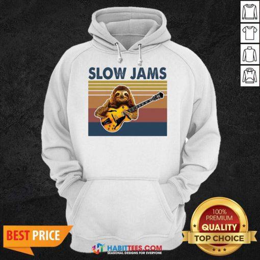 Original Sloth Playing Guitar Slow Jams Vintage Hoodie