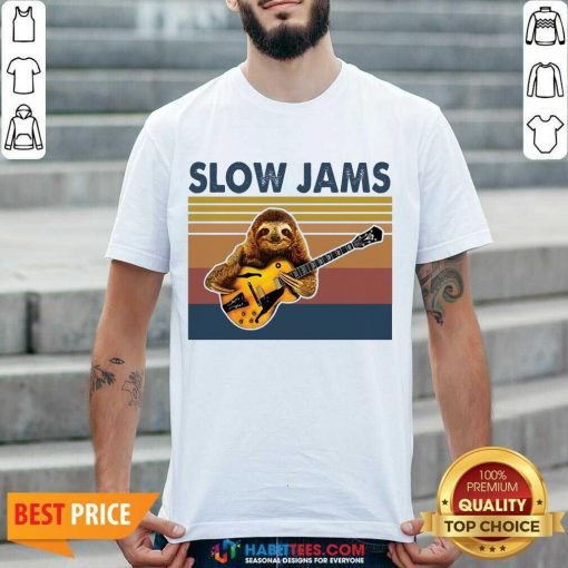 Original Sloth Playing Guitar Slow Jams Vintage Shirt