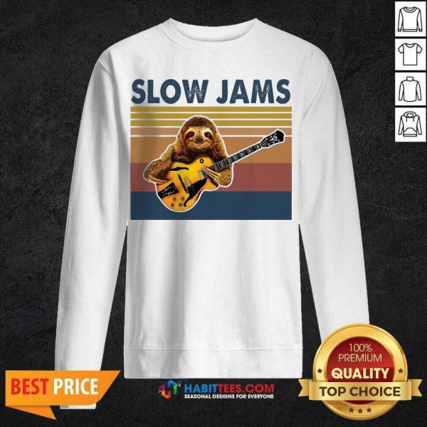 Original Sloth Playing Guitar Slow Jams Vintage Sweatshirt