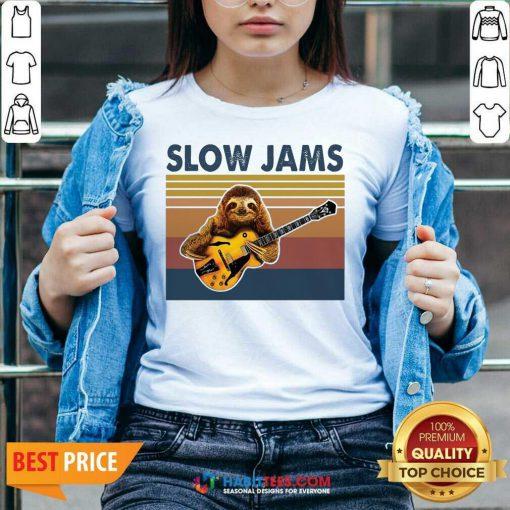 Original Sloth Playing Guitar Slow Jams Vintage V-neck