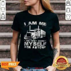 Premium I Am Me And I Wont Change Myself For Anyone V-neck - Design by Habittees.com