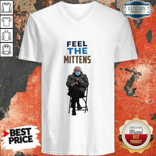 Top Feel The Mittens Bernie Sanders V-neck