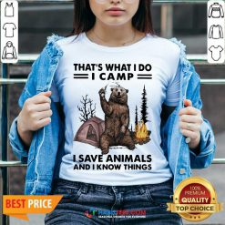 Funny Camp I Save Animals And I Know Things Bear 01 V-neck