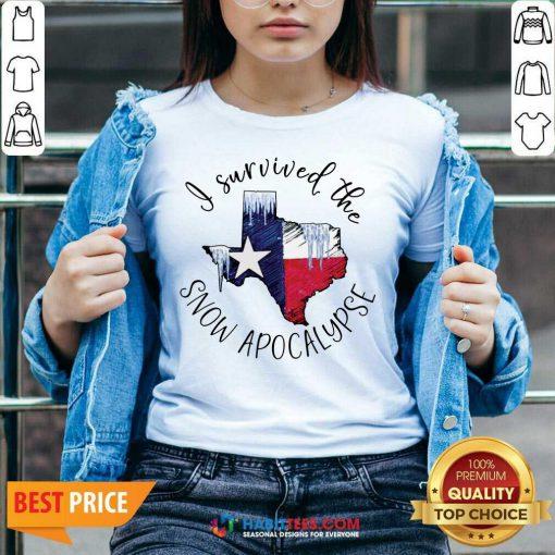 Funny I Survived The Snow Apocalypse Texas 01 V-neck