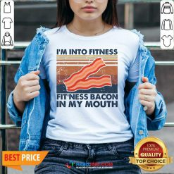Good Im Into Fitness Fitness Bacon My Mouth Vintage 1 V-neck