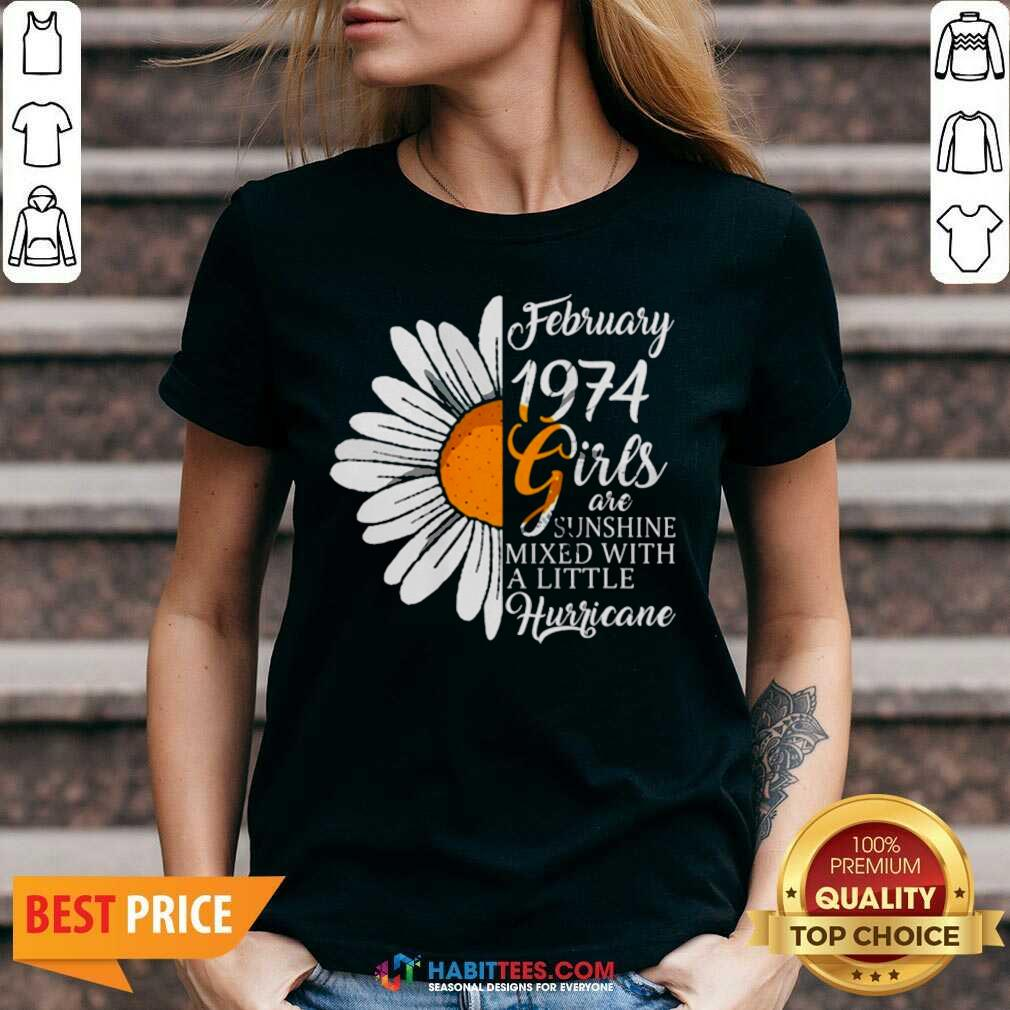 Hot February Girl 1974 Years Birthday V-neck