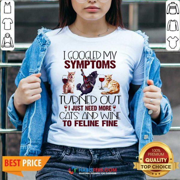 Hot Need Cats And Wine Feline Fine 3 V-neck