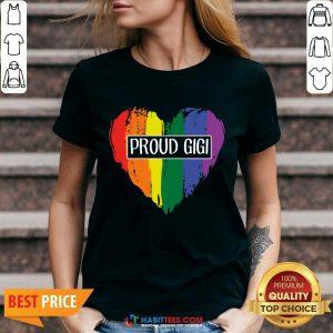 Nice Proud GiGi Heart Grandma LGBT 06 V-neck
