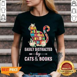 Perfect Easily Distracted By Cats And Books 04 V-neck