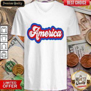 Excellent America Retro V-neck