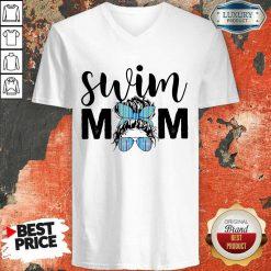 Happy Swim Mom Girl Bun Hair Glasses V-neck